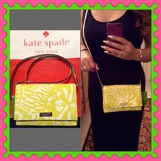 "♠️Authentic Kate Spade Handbag♠️ % AUTHENTIC✨ Beautiful small handbag from Kate Spade Very versatile! Crossbody, shoulder & handheld bag. Materials: Vinyl & Cow leather. Length 7 1/2"" Height 5"" Strap drop 22"" Color: btcbnpalm ( yellow green ) Yellow gold tone hardware. In very good condition. NO TRADE PRICE FIRM kate spade Bags Crossbody Bags"