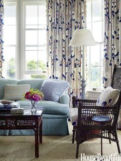 Like the tall ceiling/windows/drapes....not sure those blues work together just right. Others' opinions welcome!