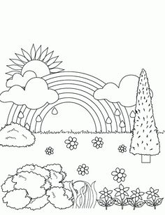 Rainbow Template To Print Coloring pages of rainbows Coloring