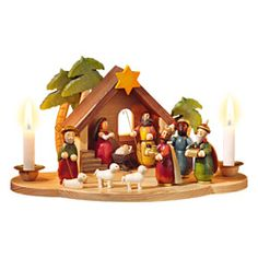 the Wohlfahrt hand-stained wooden candleholder with Holy Family figurines German Christmas Decorations, German Christmas Ornaments, Christmas Manger, German Christmas Markets, Christmas Clay, White Christmas, Christmas Ideas, Xmas, Christmas Time Is Here