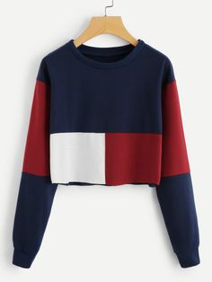 Cut And Sew Crop Sweatshirt -SheIn(Sheinside)