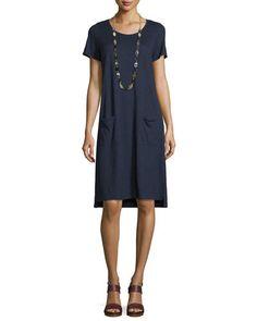 TCN8Z Eileen Fisher Short-Sleeve Round-Neck Pocket Dress