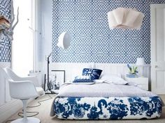 Blue and white room..