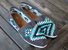 Custom Hand Painted TOMS -- Native American tribal theme on Ash Grey Canvas Classic TOMS Shoes -- Customizable