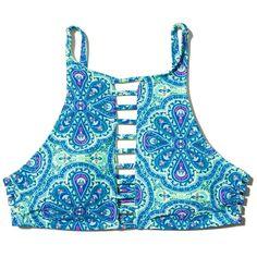 Hollister Caged High-Neck Bikini Top ($35) ❤ liked on Polyvore featuring swimwear, bikinis, bikini tops, turuoise print, high neck bikini, high neck swim top, strappy swim top, cage bikinis and patterned bikini