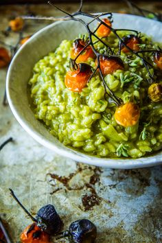 Spinach Basil Pesto Risotto from @thepioneerwoman