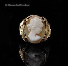 ANTIQUE VICTORIAN SHELL CAMEO LADY PORTRAIT 14 K GOLD RING