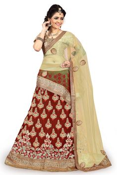 Net Party Wear Lehenga Choli In Maroon Colour.It comes with matching Dupatta and Choli.It is crafted with Resham Work,Zari Work,Stone Work,Patch Work Design This Lehenga Choli can be Stitched upto 42 ...