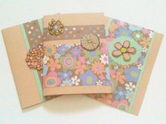 Three Cards Any Occasion Beige Multicolor by MayQueenCrafts, $8.00