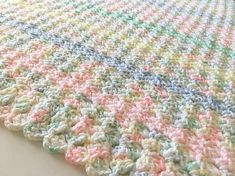Pastels Baby Blanket, Crochet Baby Blanket, Baby Blanket, Newborn Blanket, Crochet Blanket, Baby Afghan, Handmade Blanket, Stroller Blanket, Baby Shower Gift, Medium weight Blanket, Blanket, Gender Neutral, Striped Blanket, Ready to ship, Double thick Custom orders are welcome!