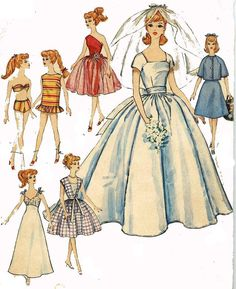 1960s Wedding Gown PATTERN for Barbie Midge Fashion Model dolls 11.5 inch 4510