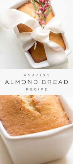 Almond Bread is a moist quick bread for breakfast, snack or dessert. It requires only staple ingredients and takes just 5 minutes hands on time to make! # Food and Drink homemade Almond Bread Köstliche Desserts, Delicious Desserts, Yummy Food, Quick Dessert Recipes, Sweet Recipes, Tasty, Bread Recipes, Baking Recipes, Rice Recipes