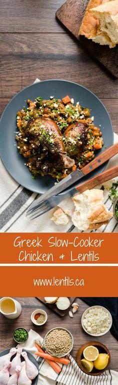 Greek Slow-Cooker Chicken & Lentils   Slow-Cooker Friendly   lentils.ca // gluten-free