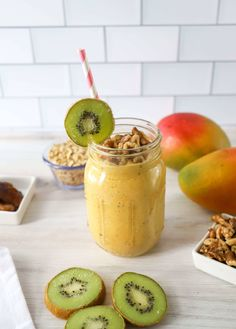 Mango Walnut Powerhouse Smoothie Healthy Desserts, Healthy Drinks, Healthy Recipes, Some Recipe, Fruit Recipes, Fruits And Vegetables, Healthy Choices, Smoothie, Breakfast Recipes