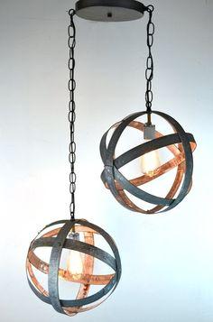 Wine Barrel Ring Chandeliers