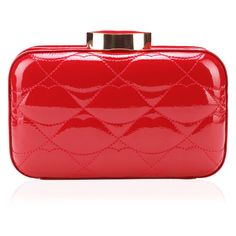 LULU GUINNESS Red Quilted Lips Patent Fifi Clutch (25.705 RUB) ❤ liked on Polyvore featuring bags, handbags, clutches, purses, bags / clutches, hand bags, handbags purses, red patent handbag, man bag and red evening purse