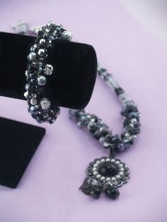 Black and Silver bracelet created with French Knitter by Clover