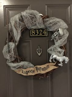 "We picked out our patronus' and made wands. Harry Potter ""Expecto Patronum"" wreath."
