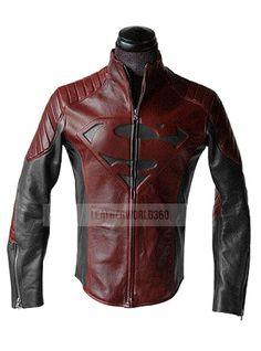 Handmade Jacket, inspired by SUPERMAN MAN OF STEEL & SMALLVILLE BLACK AND RED LEATHER SHIELD JACKET    This jacket is exactly made as original,A