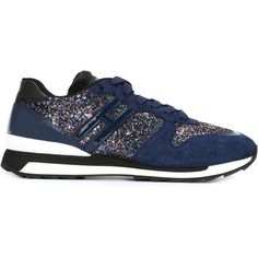 Hogan Rebel Glitter Panel Sneakers ($279) ❤ liked on Polyvore featuring shoes, sneakers, blue, blue patent leather shoes, blue shoes, hogan rebel shoes, glitter shoes and hogan rebel