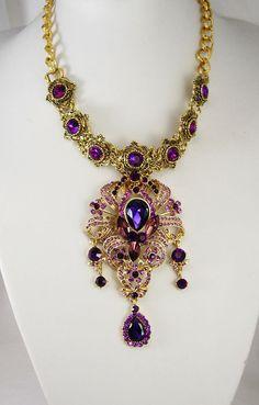 Statement Necklace Purple chandelier rhinestone by vintagesparkles, $245.00