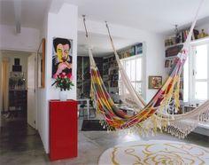 Sala de estar com redes