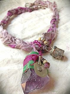 ´⁀°☽♥☾ •. Rustic gypsy silk wrapped amethyst necklace with bell by quisnam, $50.00