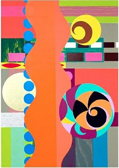 Prints:Contemporary, Beatriz Milhazes (b. Piquenique (Picnic), and screenprint in colors on Saunder Waterford Arte Country, Art Moderne, Art Design, Graphic, Triptych, Painting Inspiration, Oeuvre D'art, Collage Art, Illustration
