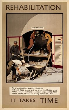 LT Rehabilitation London Underground WWII Flooding Protection 1945 - rare original vintage poster by Fred Taylor (one of a series) listed on AntikBar.co.uk