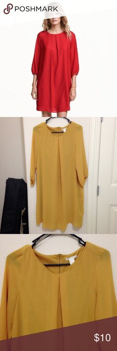 H&M Chiffon Dress Simple yellow mustard chiffon dress. 3/4 sleeve, length; goes past my knees (I'm about 5.4). Gold zipper on back side. Does have another material underneath. Worn about 3 times. Can be easily styled with accessories. ❌NO TRADES❌ H&M Dresses
