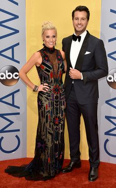 """Luke Bryan & Caroline Boyer from CMA Awards 2016 Red Carpet Arrivals  The """"Crash My Party"""" singer is hoping for a three-peat as he attends the awards show with his wife."""