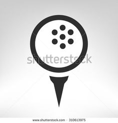 Golf ball on tee vector icon