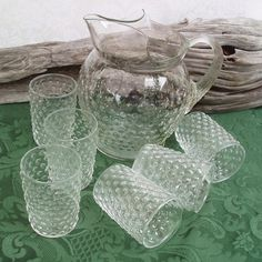 Hobnail Glass Pitcher, Hobnail Glasses, Vintage Glassware, Pitcher And Glasses