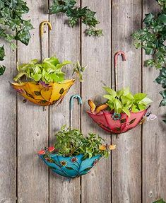 The Hanging Umbrella Planter is a delightful way to spread cheer in your yard. In addition to flowers and their leaves, the pink umbrella is trimmed with butterflies, the blue with dragonflies and the yellow with hummingbirds. The umbrella hangs upside d