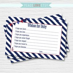 Ships Ahoy Baby Shower Baby Wish Card  Nautical by PeaceLoveEtsy, $5.00