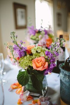 Peach and Lavender Centerpieces
