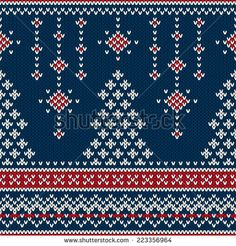 Winter Holiday Seamless Knitting Pattern with a Christmas Tree - stock vector