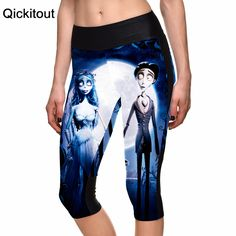 Fashion Women's 7 point pants Sport Cropped legging Corpse Bride Dark digital print women high waist Side pocket phone pant  Only $19.99 => Save up to 60% and Free Shipping => Order Now!  #print leggings outfit #dress #Fashion #girl #Digital #sport #yoga