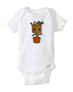 Guardians of the Galaxy Baby Groot Onesie Bodysuit. Very cute baby shower gift for discerning geek parents.