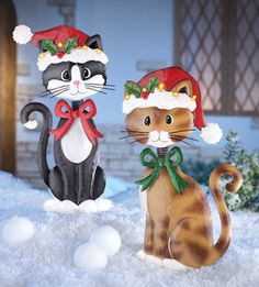 Christmas Bobble Head Cats Garden Stakes Yard Art Outdoor Decorations