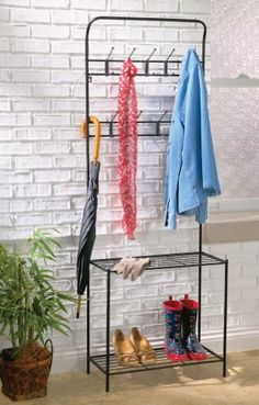 Entryway Organizer With Hooks And Boot Tray Collections Etc http://www.amazon.com/dp/B004FJTWEM/ref=cm_sw_r_pi_dp_WX6fub1DPE7HD