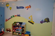 Transportation Wall Stickers, Trains, Cars, Planes and Trucks Wall Decals for Baby Boys Wall Mural - FREE SHIPPING (USA). $129.99, via Etsy.