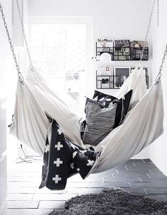 White hammock indoors