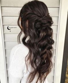 #braided hair with #brown hairstyles for fall / winter | cute | chic | for girls and women | easy | for beginners | #hairstyles | wavy and curly | half updo braid and twist hair