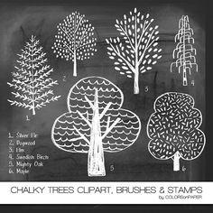Schoolbord bomen digitale Clipart Photoshop door ColorsonPaper