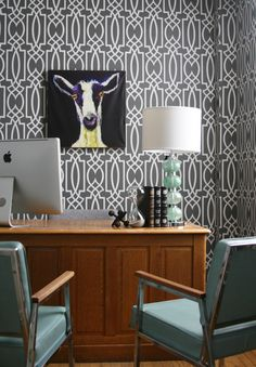 2014 office makeover at York Wallcoverings featuring Grata wallpaper from the Dolce Vita collection.