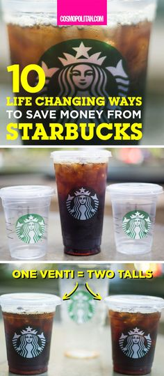 "Pro tip: Don't waste money on bottled water because you can order water in a tall, grande, or venti cup for free. Just ask your barista for a ""water cup"" and you won't be charged. Click through for more ways to save money from Starbucks!"