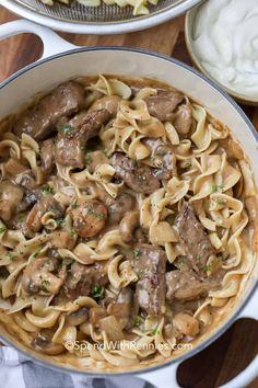 Beef Mushroom Stroganoff, Homemade Beef Stroganoff, Classic Beef Stroganoff Recipe, Low Sodium Beef Stroganoff Recipe, Leftover Steak Stroganoff Recipe, Potato Stroganoff Recipe, Beef Stroganoff Sauce, Steak And Mushrooms, Stuffed Mushrooms