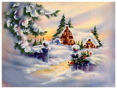 Vintage Christmas card scene