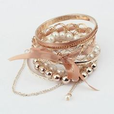 $5.49 6PCS of Ribbon Bowknot Faux Pearl and Bead Embellished Alloy Bracelets For Women